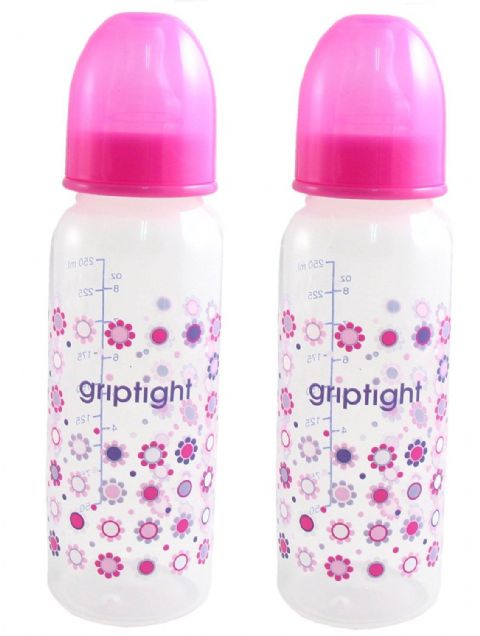 Griptight 250ml Decorated Bottle with medium flow Twin Pack Pink